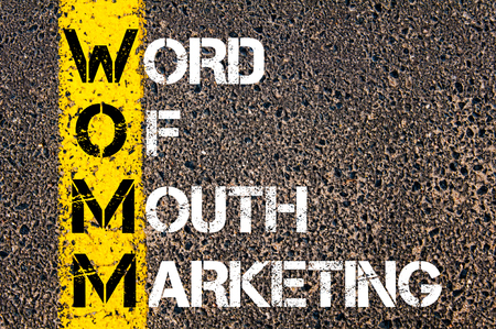 Business Acronym WOMM as WORD OF MOUTH MARKETING. Yellow paint line on the road against asphalt background. Conceptual image