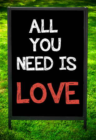 in need of space: ALL YOU NEED IS LOVE  message on sidewalk blackboard sign against green grass background. Copy Space available. Concept image