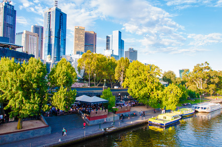 ranked: Melbourne, Australia - February 20, 2015: View over Yarra River and City Skyscrapers from Princes Bridge.It has been ranked the worlds most livable city since 2011, often referred to as Australias cultural capital.