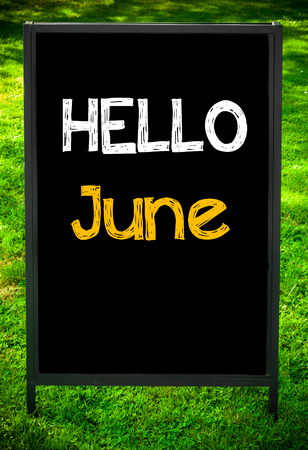 HELLO JUNE  message on sidewalk blackboard sign against green grass background. Copy Space available. Concept image