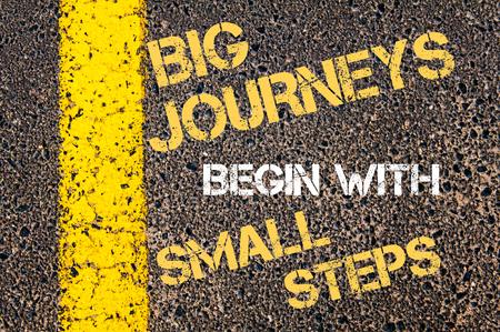 大きな旅を始めると小さなステップの動機付けの引用。アスファルトの背景に対して、道路上の黄色塗装ライン