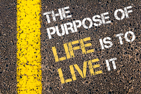 THE PURPOSE OF LIFE IS TO LIVE IT motivational quote. Yellow paint line on the road against asphalt background photo
