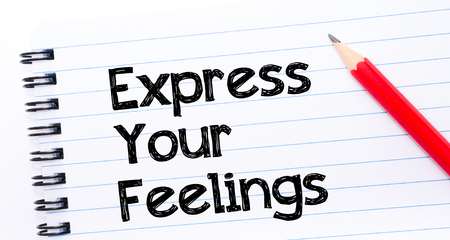 express feelings: Express your Feelings Text written on notebook page, red pencil on the right. Motivational Concept image