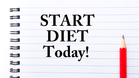 Start Diet Today Text written on notebook page, red pencil on the right photo