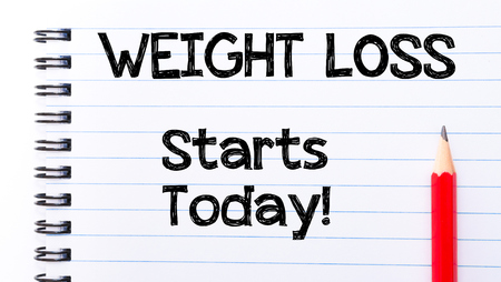 WEIGHT LOSS Starts Today Text written on notebook page, red pencil on the right photo
