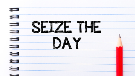 seize: Seize the Day Text written on notebook page, red pencil on the right