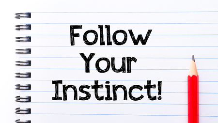 instinct: Follow Your Instinct Text written on notebook page, red pencil on the right