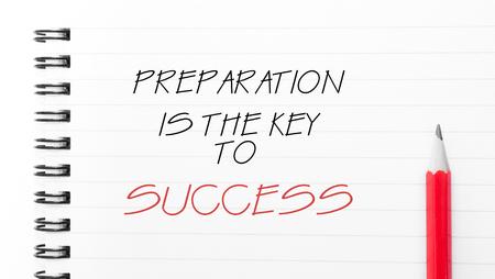 準備は「ノートブック」ページ、右側に赤鉛筆で書かれた成功テキストへの鍵