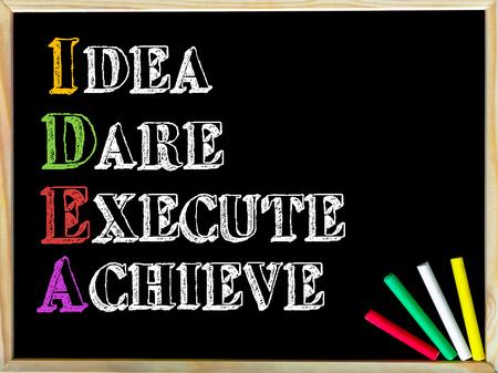 osare: Acronimo IDEA come IDEA, DARE, ESEGUI, raggiungere. Nota scritta su telaio in legno lavagna, gesso colorato in un angolo. Immagine di concetto motivazionale Archivio Fotografico