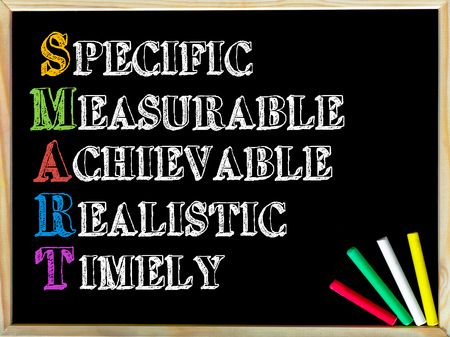 specific: Acronym SMART as SPECIFIC, MEASURABLE, ACHIEVABLE, REALISTIC, TIMELY. Written note on wooden frame blackboard, colored chalk in the corner. Motivational Concept image