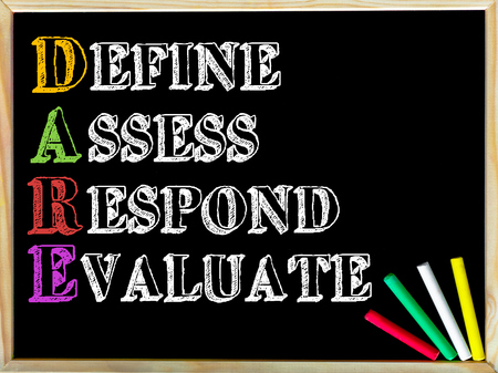 define: Acronym DARE as DEFINE ASSESS RESPOND EVALUATE. Written note on wooden frame blackboard, colored chalk in the corner. Motivational Concept image
