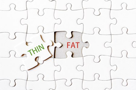 final piece of puzzle: Missing jigsaw puzzle piece with word THIN, covering text FAT. Business concept image for completing the final puzzle piece.