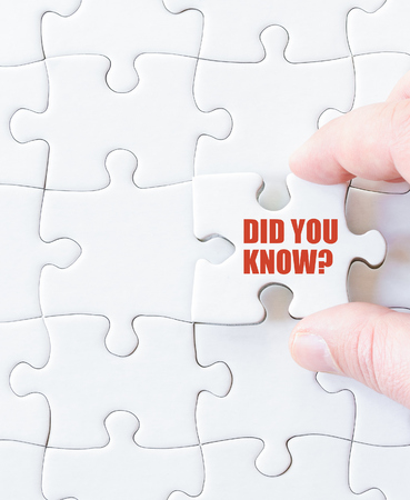 did: Missing jigsaw puzzle piece with words  DID YOU KNOW. Business concept image for completing the puzzle.
