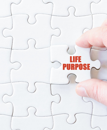Last puzzle piece with words LIFE PURPOSE. Concept image