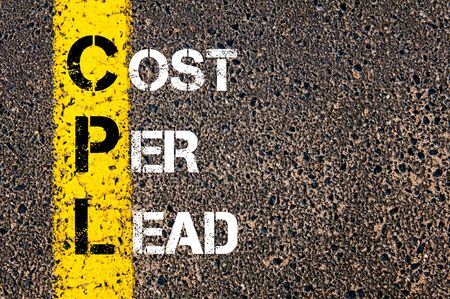 cpl: Concept image of Business Acronym CPL as COST PER LEAD written over road marking yellow paint line.