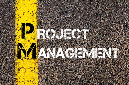 pm: Concept image of Business Acronym PM as PROJECT MANAGEMENT written over road marking yellow paint line.