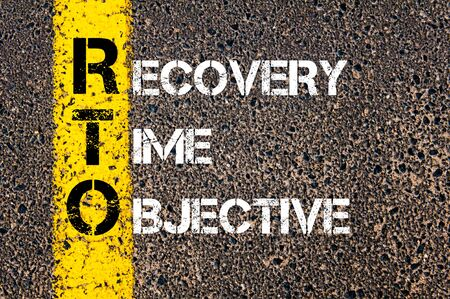 road to recovery: Concept image of Business Acronym RTO as RECOVERY TIME OBJECTIVE written over road marking yellow paint line.