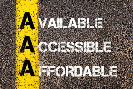 affordable: Concept image of Business Acronym AAA as AVAILABLE, ACCESSIBLE, AFFORDABLE written over road marking yellow paint line. Stock Photo