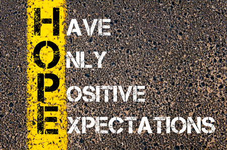 Concept image of Business Acronym HOPE as HAVE ONLY POSITIVE EXPECTATIONS  written over road marking yellow paint line.