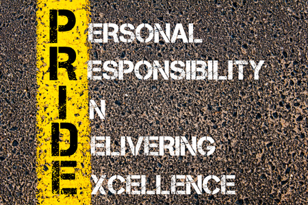 corporate responsibility: Concept image of Business Acronym PRIDE as PERSONAL RESPONSIBILITY IN DELIVERING EXCELLENCE written over road marking yellow paint line.