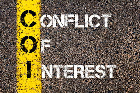 Concept image of Business Acronym COI as CONFLICT OF INTEREST written over road marking yellow paint line.