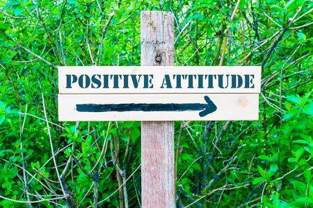 actitud positiva: ACTITUD POSITIVA escrito en cartel de madera direccional con la flecha apuntando hacia la derecha contra el fondo de hojas verdes. Concepto de imagen con espacio de copia disponible