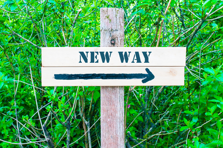 new way: NEW WAY written on Directional wooden sign with arrow pointing to the right against green leaves background. Concept image with available copy space