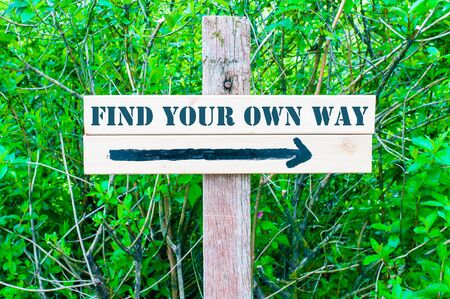 find your way: FIND YOUR OWN WAY written on Directional wooden sign with arrow pointing to the right against green leaves background. Concept image with available copy space Stock Photo