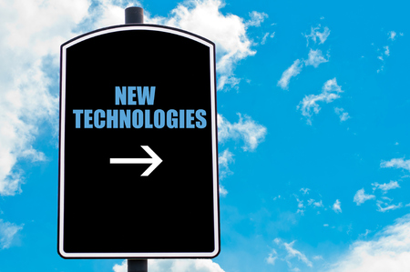 new technologies: NEW TECHNOLOGIES motivational quote written on road sign isolated over clear blue sky background