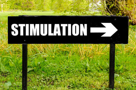 stimulation: STIMULATION written on directional black metal sign with arrow pointing to the right against natural green background