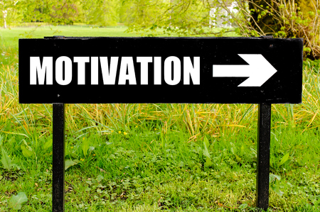right path: MOTIVATION written on directional black metal sign with arrow pointing to the right against natural green background