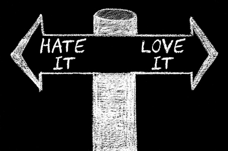 Opposite arrows with Hate It versus Love It. Hand drawing with chalk on blackboard. Choice conceptual image photo