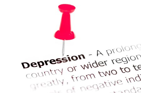white pushpin: Word DEPRESSION pinned on white paper with red pushpin, available copy space. Business Concept Stock Photo