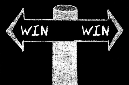 Opposite arrows with Win-Win Solution. Hand drawing with chalk on blackboard. Choice conceptual image photo