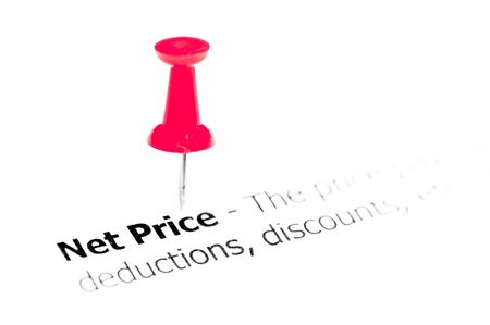 white pushpin: Words NET PRICE pinned on white paper with red pushpin, available copy space. Business Concept Stock Photo