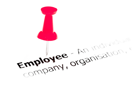 red pushpin: Word EMPLOYEE pinned on white paper with red pushpin, available copy space. Business Concept