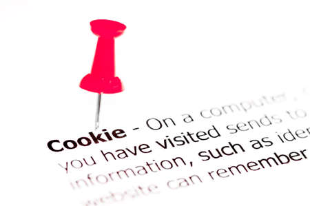 white pushpin: Word COOKIE pinned on white paper with red pushpin, available copy space. Business Concept