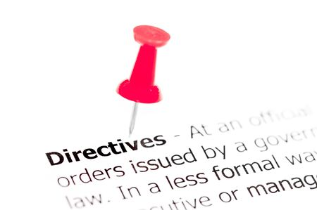 directives: Word DIRECTIVES pinned on white paper with red pushpin, available copy space. Business Concept