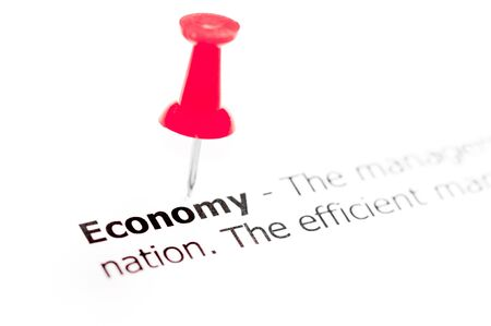 white pushpin: Word ECONOMY pinned on white paper with red pushpin, available copy space. Business Concept