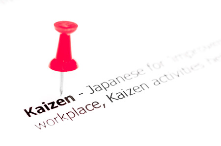 kaizen: Word KAIZEN pinned on white paper with red pushpin, available copy space. Business Concept