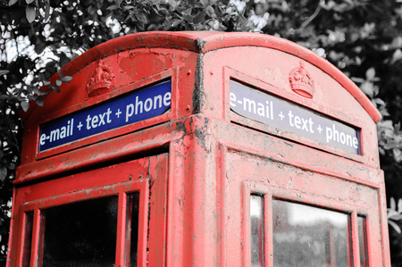 red telephone: Iconic British red telephone box with filter effect applied Stock Photo