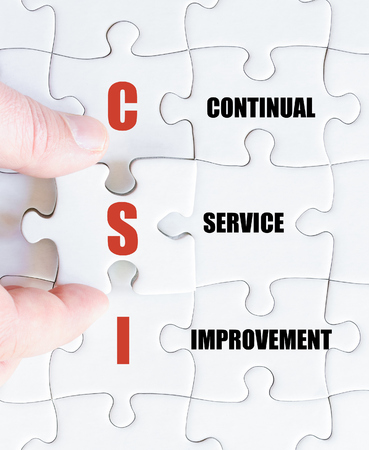 csi: Hand of a business man completing the puzzle with the last missing piece.Concept image of Business Acronym CSI as Continual Service Improvement