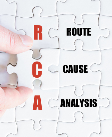 rca: Hand of a business man completing the puzzle with the last missing piece.Concept image of Business Acronym RCA as Route Cause Analysis