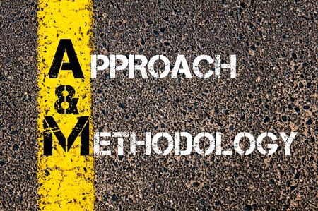 methodology: Concept image of Business Acronym AM as Approach and Methodology  written over road marking yellow paint line.