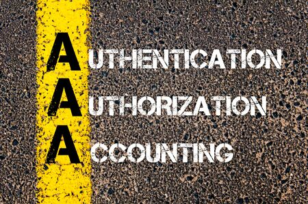 authorization: Concept image of Business Acronym AAA as Authentication Authorization Accounting written over road marking yellow paint line.