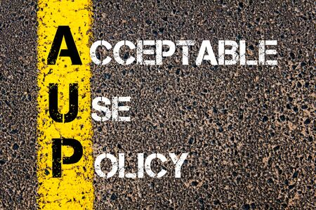 acceptable: Concept image of Business Acronym AUP as Acceptable Use Policy written over road marking yellow paint line.