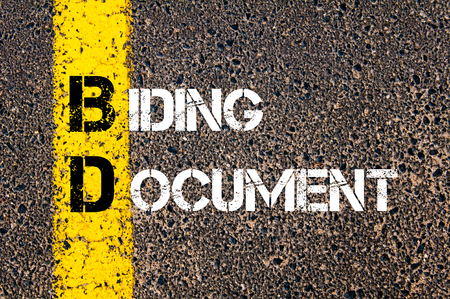 bidding: Concept image of Business Acronym BD as Bidding Document written over road marking yellow paint line.