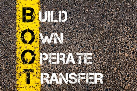 operate: Concept image of Business Acronym BOOT as Build Own Operate Transfer  written over road marking yellow paint line.