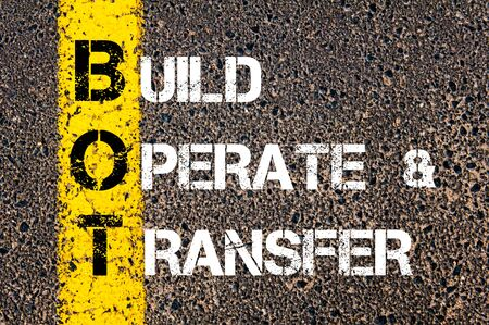 operate: Concept image of Business Acronym BPT as Build Operate and Transfer  written over road marking yellow paint line.