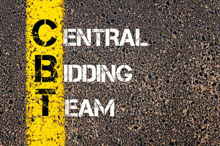bidding: Concept image of Business Acronym CBT as Central Bidding Team written over road marking yellow paint line. Stock Photo